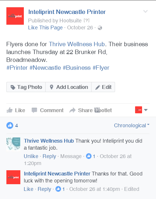 Screenshot of feedback from Thrive Wellness Hub on the inteliprint facebook page