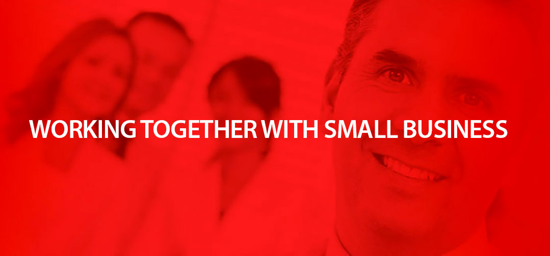 Header image with title: Working together with small business